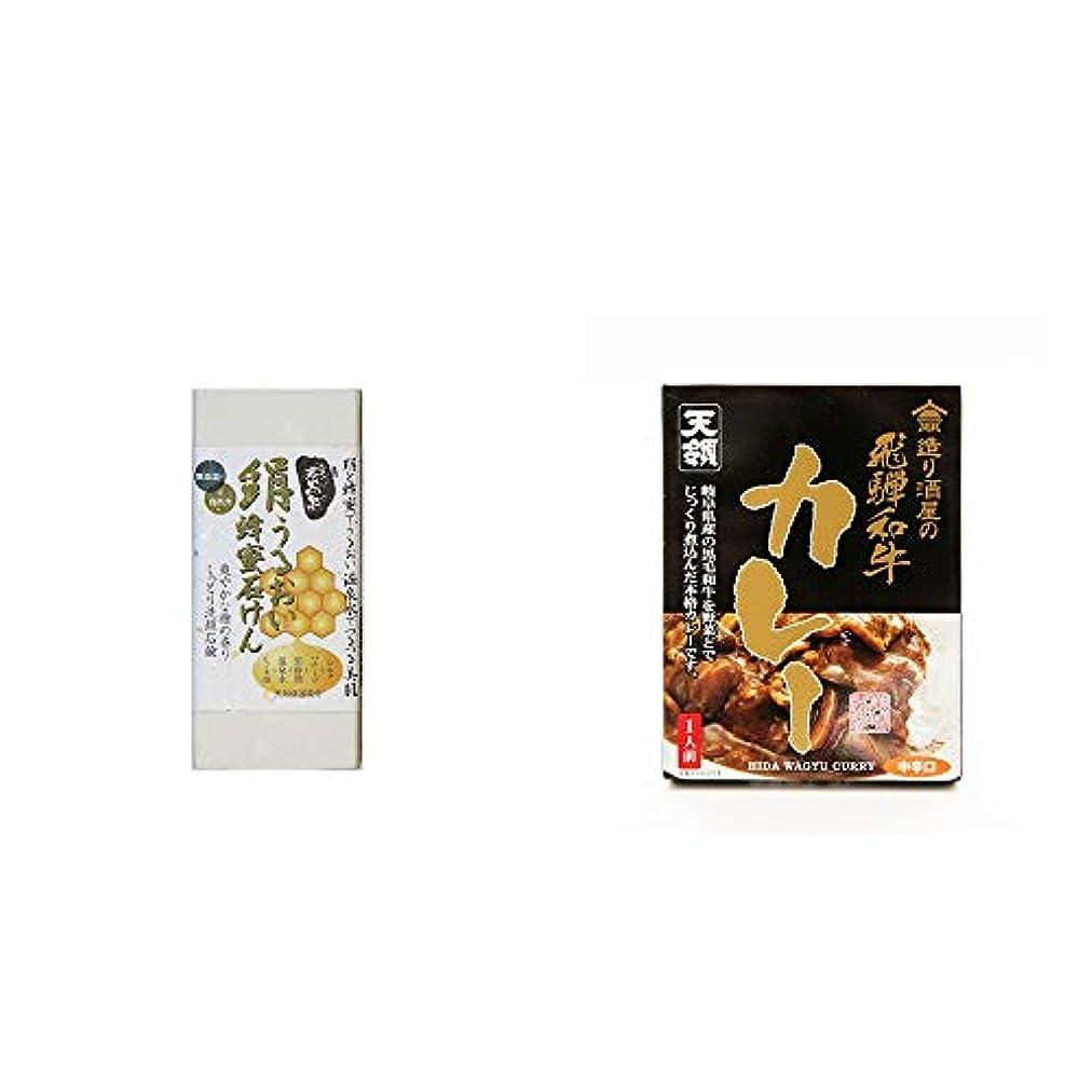 責任属する一緒に[2点セット] ひのき炭黒泉 絹うるおい蜂蜜石けん(75g×2)?造り酒屋の飛騨和牛カレー【中辛】 (1食分)
