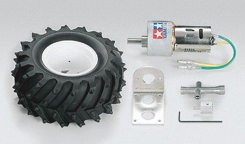 ロボマテリアルシリーズ ギヤードモーター 380K75 & 130ピンスパイクタイヤ ( 2セット )