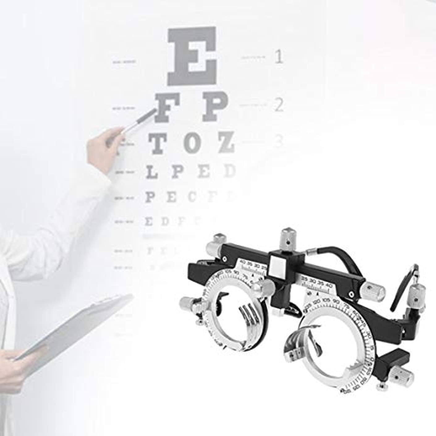 醸造所勤勉なネズミ調整可能なプロフェッショナルアイウェア検眼メタルフレームオプティカルオプティクストライアルレンズメタルフレームPDメガネアクセサリー(シルバー&ブラック)