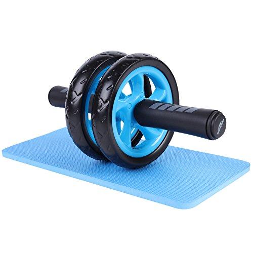 Soomloom アブホイール エクササイズウィル スリムトレーナー 超静音 腹筋ローラー エクササイズローラー 膝を保護するマット付き (ブラック)