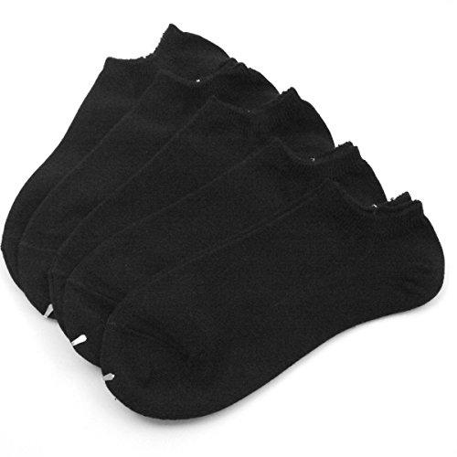 25~27cm Mサイズ 日本製 抗菌防臭、吸水速乾加工 スニーカー丈ソックス 無地 ブラック 5足セット