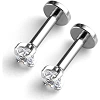 2 PCS Lip Ring, Stainless Steel Helix Earring,16G Studs Earrings Body Piercing Jewelry for Women Girls, Free of Nickel