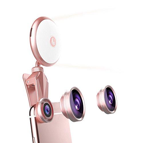 Rantom 自撮りレンズ スマホ用カメラレンズ 自撮りライト セルカレンズ 1台4役(185°魚眼レンズ 0.4X広角レンズ 50Xマクロレンズ 自撮り補助LEDライト) 9段階の明るさ調整 360°回転可能 クリップ式 カメラレンズキット スマートフォン/タブレットPCに対応(ローズゴールド)