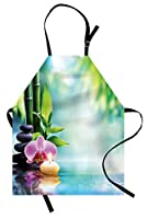 Spa Apron by Ambesonne, Symbolic Spa Features with Candle and Bamboos Tranquil and Thoughtful Life Nature Print, Unisex Kitchen Bib Apron with Adjustable Neck for Cooking Baking Gardening, Multicolor [並行輸入品]
