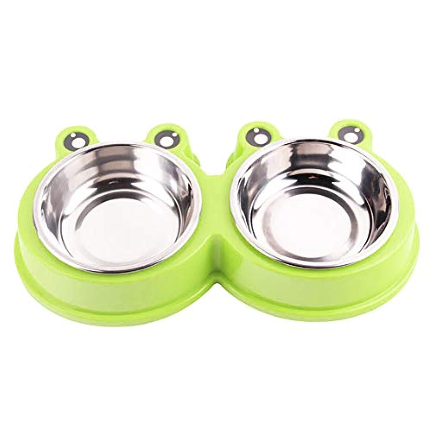 ペットボウル 食器 給水器 犬用 猫用 ステンレス製ペット皿 二つボウル付き (Green/Standard