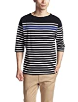 6/10 Sleeve Panel Stripe Boatneck Shirt 3217-113-3270: Black