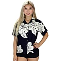 Tropical Luau Beach Hibiscus Floral Print Women's Hawaiian Aloha Shirt