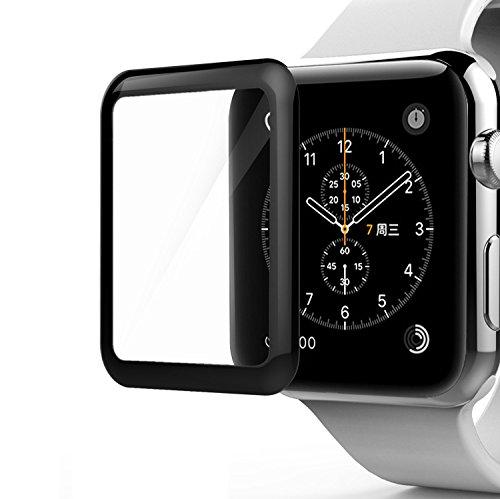 SUPTMAX Apple Watch フィルム 42mm 強化ガラス 0.2mm 硬度9H 液晶保護ガラスフィルム ガラスシート 高透過性 (42mm, ブラック)