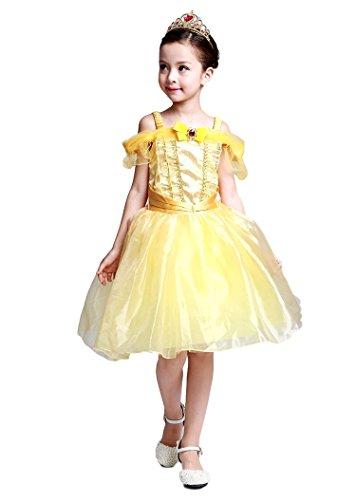 (eones) 美女と野獣 風 ベル ドレス ミニ プリンセスドレス キッズ 子供用 ふんわり しっかり3層構造 ティアラ 2点セット (110)
