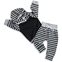 KONIGHT Newborn Baby Boy Outfit Long Sleeve Strip Hoodie Sweatshirt Tops+Pants Fall Winter Clothes Outfits Set