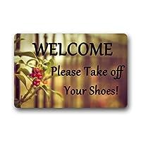カスタムようこそどうぞあなたの靴を脱いでください屋内/屋外ドアマットドアマット装飾ラグマット非スリップマット15.7 x 23.6インチ