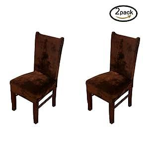 Hemons 2ピースユニバーサルストレッチフォックスパイル布製椅子カバーリムーバブル洗濯式ホテルダイニングルームキッチンバーダイニングシートカバーレストランウェディングパーツデコレーション (コーヒー)