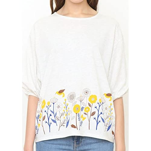 (グラニフ)graniph バルーン半袖Tシャツ / コスモスヒル ( ヘザーナチュラル ) Lady(F)