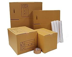 ボックスバンク ダンボール 引越しセットS ●ダンボール箱(大・小)15枚、プチプチ、クラフトテープ ZH07-0015-a