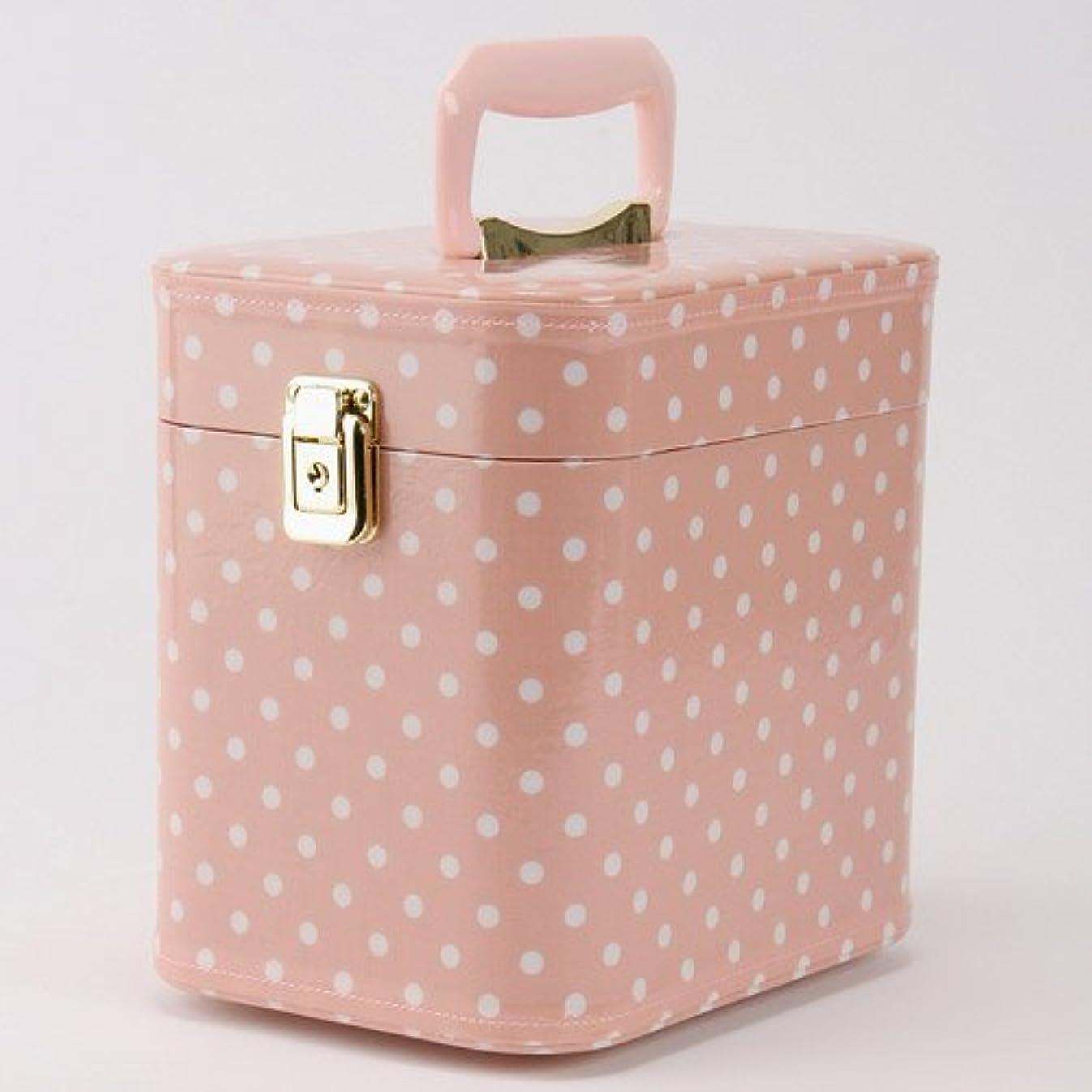 天コンデンサー速報日本製 メイクボックス 水玉(ドット) ピンク 7寸(鍵付き/コスメボックス)