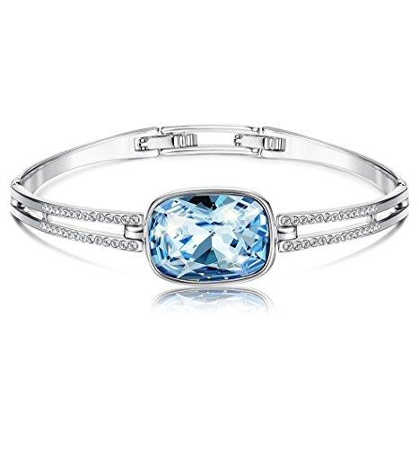 [해외]Kesaplan 아쿠아 마린 팔찌 여성 팔찌 스와 로브 스키 요소 채용 체인 팔찌 크리스탈 팔찌 길이 : 19cm + 2cm/Kesaplan Aquamarine Bracelet Women`s Bangle Swarovski Element adopted Chain Bracelet Crystal Bracelet Length: 19 cm + 2 cm