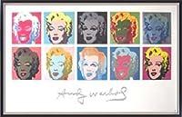 ポスター アンディ ウォーホル 10 Marilyns on White Background 額装品 マッキアフレーム-S(ブラックシルバー)