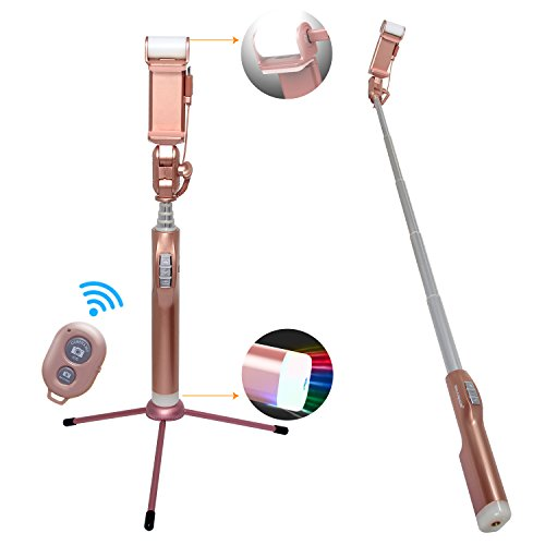 SIDARDOE 自撮り棒 セルカ棒 Bluetooth無線 リモコン 三脚 バックミラー付き アルミニウム合金 補助光機能付き 360度回転 iPhone/Android対応 ローズゴールド SIDARDOE JP 販売ライセンスのみ