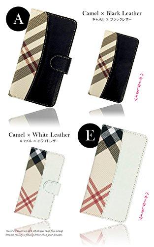 手帳型 [GALAXY S III SC-06D] チェック柄×レザー PU手帳 ピンク×ブラックレザー 手帳型 カード収納付き スマホケース