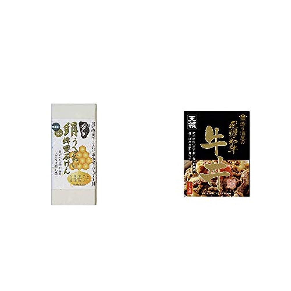 返還モーター人間[2点セット] ひのき炭黒泉 絹うるおい蜂蜜石けん(75g×2)?天領酒造 造り酒屋の飛騨和牛 牛丼(1人前)