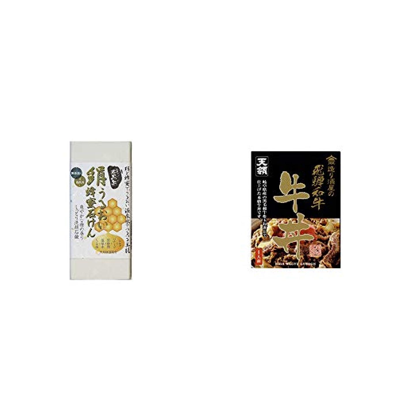 古代神の公使館[2点セット] ひのき炭黒泉 絹うるおい蜂蜜石けん(75g×2)?天領酒造 造り酒屋の飛騨和牛 牛丼(1人前)