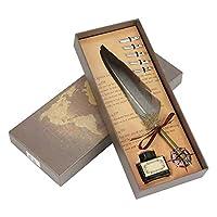 羽毛羽根ペンヴィンテージ羽ディップペンと5つの交換用金属ペン先書道のサイズが異なる、ディップペンギフトセット(机の装飾用&ギフト用(グレー)