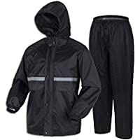 LiuHong Shield Motorcycle Rain Suit for Men Waterproof Hooded Rainwear Jacket & Trouser Suit