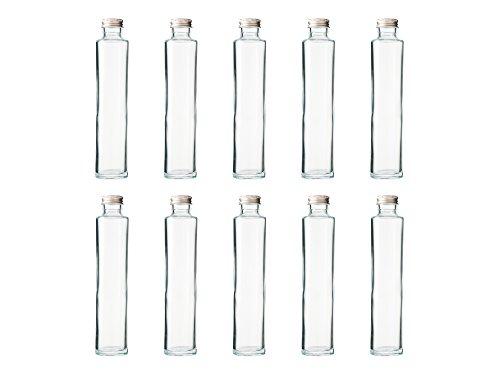 ハーバリウム、ドレッシング、タレ、オイルで使えるガラス瓶・透明瓶・円柱瓶SSS-200A -10本セット- ((ふた)アルミCAP)