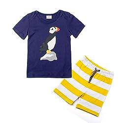 (ディゾン)dizoon [夏シリーズ]キッズ 子供 ベビー 服 パジャマスーツ 綿 半袖Tシャツ 半ズボン上下セット ボーダー おうむ 1-9歲
