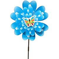 (Blue) - Ladaidra Wind Spinner, Peony Flower 3D Double Layers Stand Decor for Farm Yard (Blue)