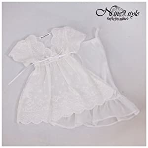 *NINE STYLE* Perforated lace dress(White)/40cm/doll/洋服/(MSD)