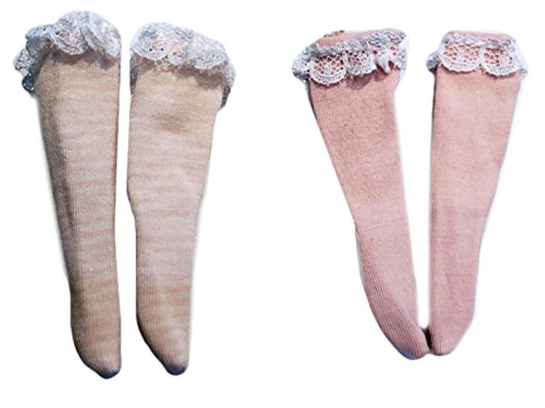 (ドーリア)Dollia ブライス 1/6ドール用 アウトフィット レース付き膝丈靴下 ピンク&ホワイトストライプ ストッキング 2個セット ネオブライス ドール 人形