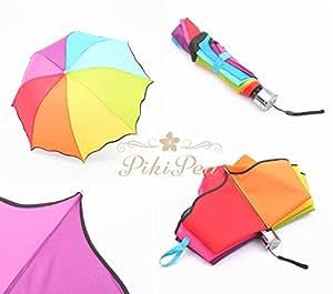 PikiPea (ピキペア) 折り畳み傘 Folding umbrella ハッピー カラー 10色 レインボー 折りたたみ 傘