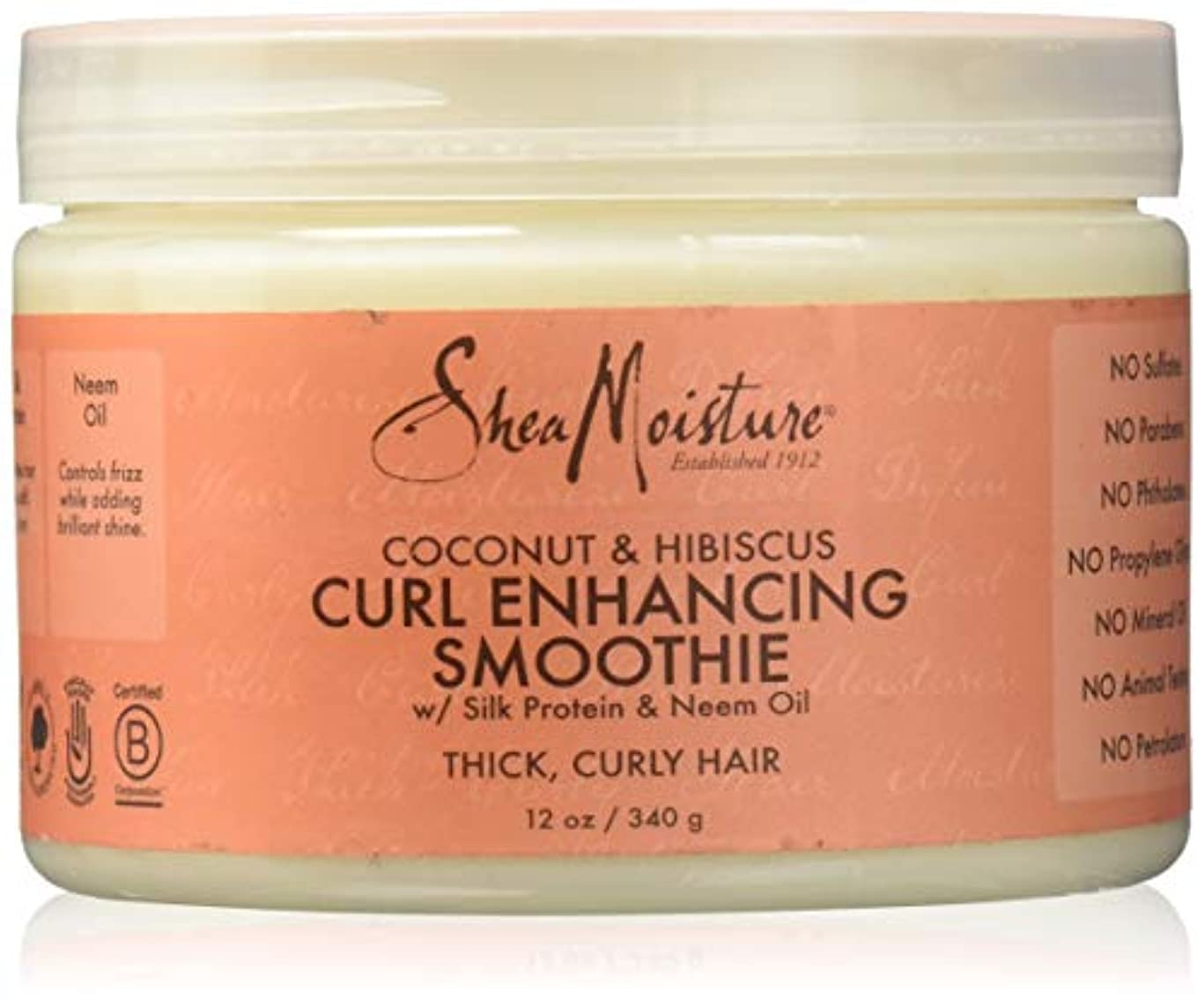 夜明けにそこから王位Shea Moisture Coconut & Hibiscus Curl Hold Smoothie - 12 OZ.