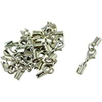 Lovoski 12 Sets Fold Over Cord End Crimp Caps With Lobster Hook Jewelry Making Clasp
