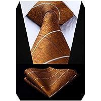 HISDERN Fashion Ties for Men Classical Plaid Check Tie Handkerchief Wedding Party Necktie & Pocket Square Set