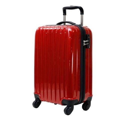 初心者さんにオススメのキャリーケース 61cm(4~5泊用) メタリックレッド ☆拡張機能付き 軽量のファスナー開閉式キャリーバッグ