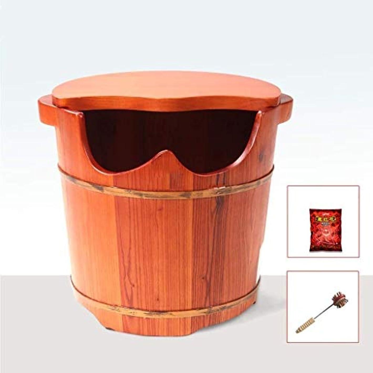 ラウンド足浴槽、木製の足タブ、ノンスリップは、簡単にきれいな、解毒を蓋で、??血液循環/睡眠を促進します