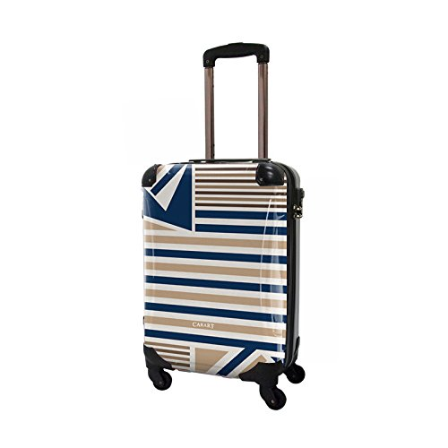 CARART(キャラート) アート スーツケース ベーシック カジュアルボーダー (ネイビー×ライトブラウン) ジッパー4輪 機内持込 CRA02-015B