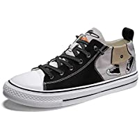 Men Casual Sneakers Splice Design Printed Non Slip Canvas Shoes for Outdoor Team Sports Speed Traction and Running