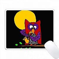 月光アートでサクソフォーンを弾くおかしいレッド・フクロウ PC Mouse Pad パソコン マウスパッド