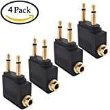 Valefod 4-Pack Airline Airplane Flight Adapters for Headphones, Golden Plated 3.5mm Jack