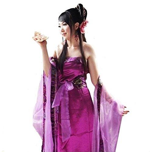 Ranpi 仙女 民族衣装 かんざし 扇 セット 中国 神話 唐装 時代衣装 ドラマ 服 皇女 (パープル, M)