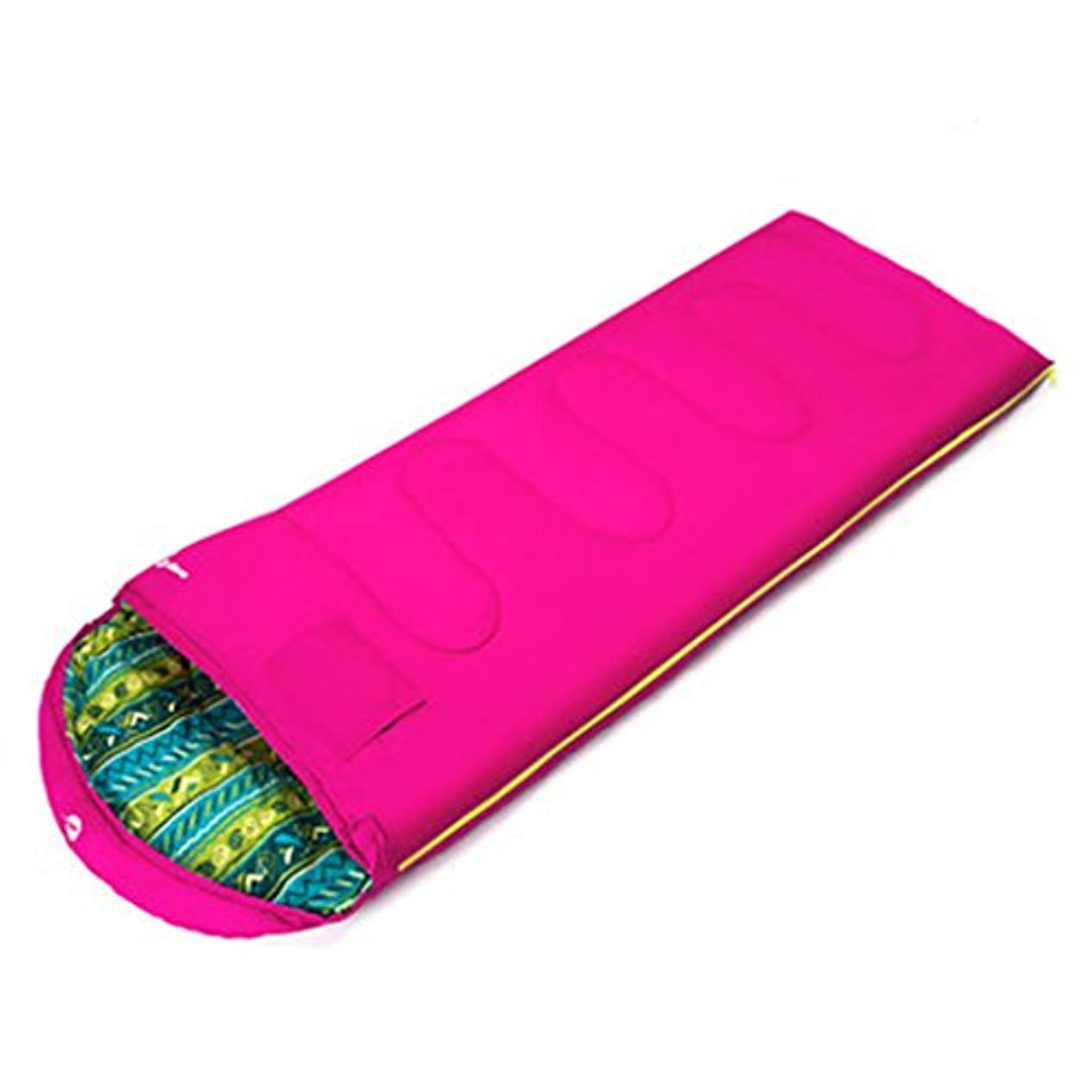 仲間累積夜明け折りたたみ式ベッド 寝袋大人の屋内の厚い暖かい屋外キャンプの冬の内臓羽毛の寝袋180 * 75 cm適切な温度-5°C -0°C (Color : Pink)