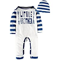 BIG ELEPHANT Baby Boys'2 Piece Long Sleeve Graphic Pajama Romper with Hat O27