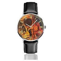 腕時計水彩シュガースカルハロウィーン。メンズ腕時計ファッションカジュアルビジネススポーツ高品質多機能クロノグラフレザーウォッチレザーストラップ防水クォーツウォッチ
