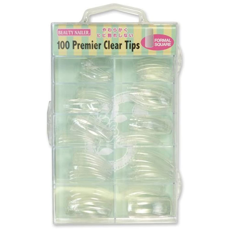 痛み打倒寝室を掃除するビューティーネイラー ネイルチップ プレミアチップス フォーマルスクエア アソート クリア PT-6N 100P