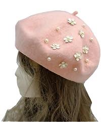 [スゴフィ]SGFY  レディース ベレー帽 モチーフ 手作り フェルト おしゃれ 小顔効果 女優帽 画家帽 フェルト帽 秋冬 かわいい パールの小花