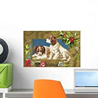 Happy Christmas Embossed and Wall Mural by Wallmonkeys Peel and Stick Graphic (18 in W x 12 in H) WM296031 [並行輸入品]