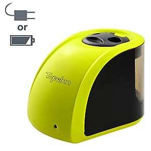 Tepoinn 自動式 電動鉛筆削り 電池式 ACアダプタ両対応 6-8mm/9-12mm直径の鉛筆対応 予備削り刃付き 底部滑り止めゴム付き